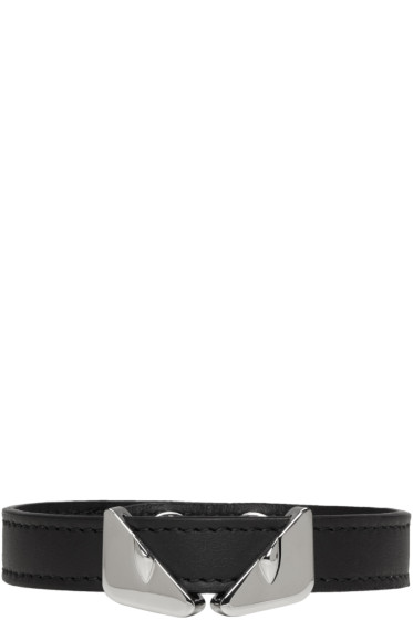 Fendi - Black Leather 'Bag Bugs' Bracelet