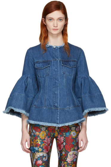 Marques Almeida - Blue Denim Hip & Puff Sleeve Jacket