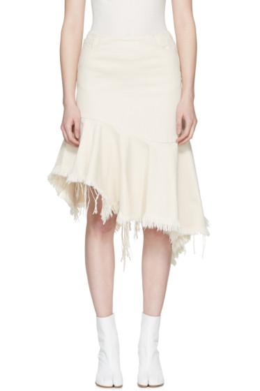 Marques Almeida - Off-White Denim Draped Skirt