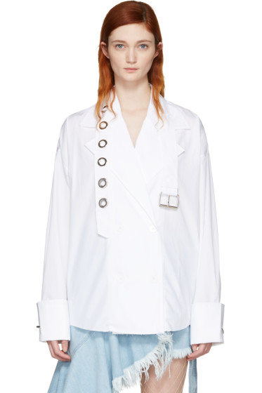 Marques Almeida - White Trench Coat Shirt