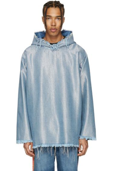 Marques Almeida - Blue & Silver Denim Oversized Hoodie