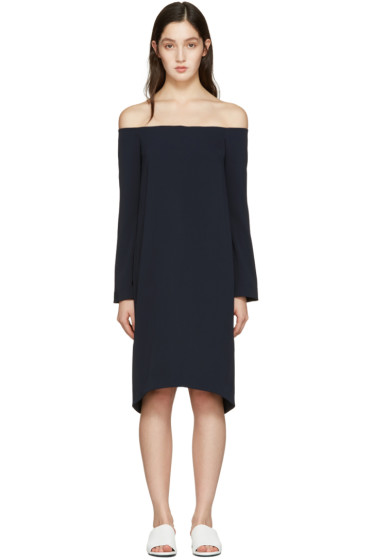 Atea Oceanie - Navy Off-the-Shoulder Dress
