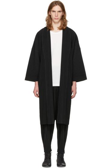 Homme Plissé Issey Miyake - Black Long Kimono Coat