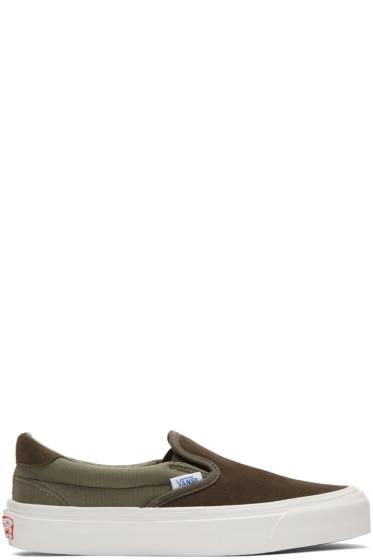 Vans - Khaki OG Classic LX 59 Slip-On Sneakers