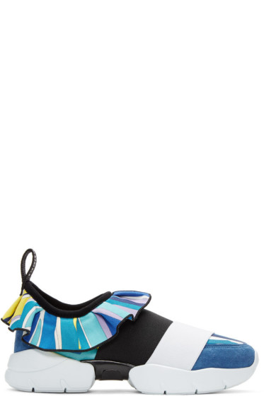 Emilio Pucci - Blue Colorblock Slip-On Sneakers