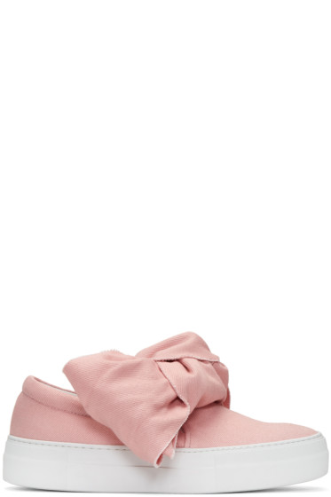 Joshua Sanders - Pink Denim Bow Double Slip-On Sneakers