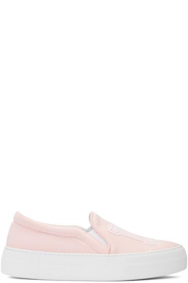 Joshua Sanders - Pink Satin NY Slip-Pm Sneakers
