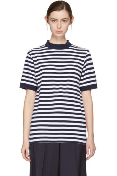 Blue Blue Japan - Indigo & White Striped Mock Neck T-Shirt