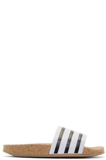 adidas Originals - ホワイト アディレット コルク スライド サンダル