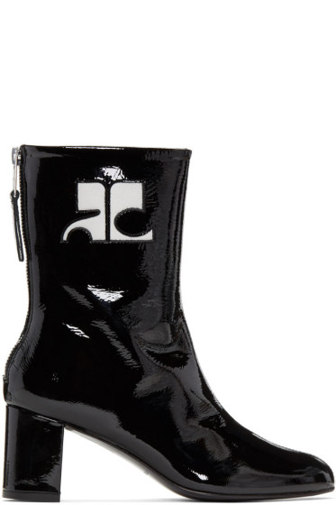 Courrèges - Black Patent Leather Zipped Boots