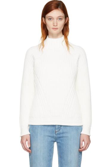 Victoria Beckham - White Multi Rib Poloneck Sweater