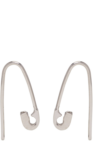 Lauren Klassen - SSENSE Exclusive Silver Tiny Safety Pin Hook Earrings
