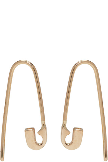 Lauren Klassen - Gold Tiny Safety Pin Hook Earrings