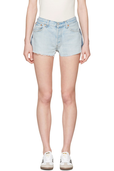Re/Done - Blue Two-Tone Denim Shorts