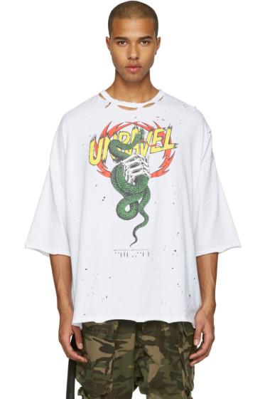 Unravel - White Distressed Snake Boxy T-Shirt