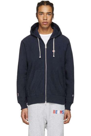 Champion x Beams - Navy Logo Zip-Up Hoodie