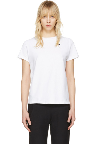 Champion Reverse Weave - White Small Logo T-Shirt