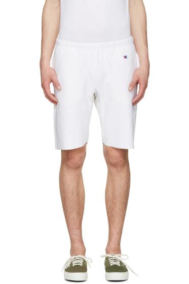 Champion Reverse Weave - White Warm Up Shorts