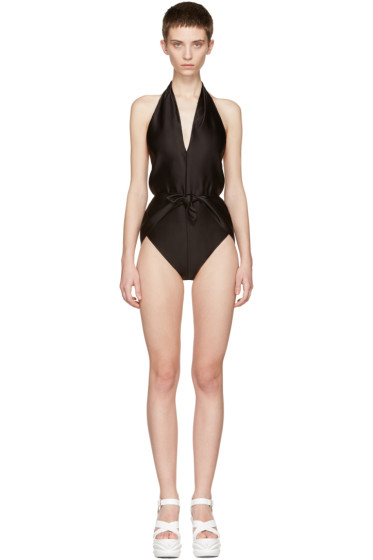 Miu Miu - Black Plunging Neckline Swimsuit