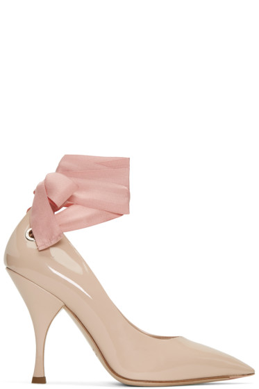 Miu Miu - Beige Grommet & Ribbon Heels