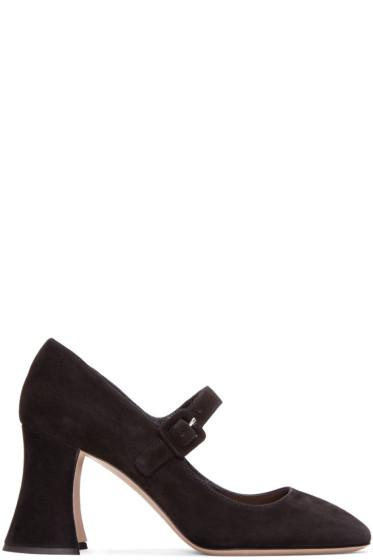 Miu Miu - Black Suede Mary Jane Heels