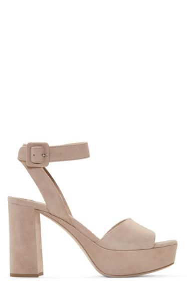 Miu Miu - Beige Suede Platform Sandals
