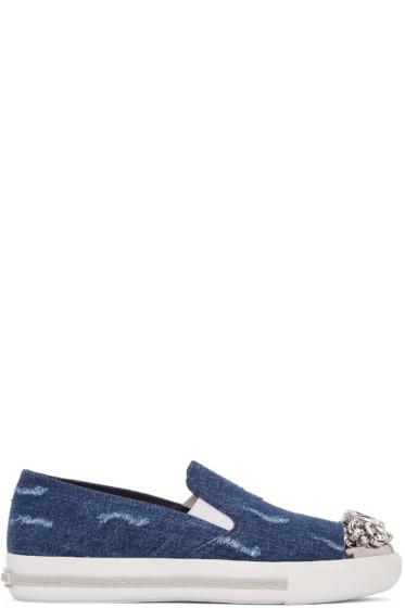 Miu Miu - Blue Denim & Crystal Slip-On Sneakers