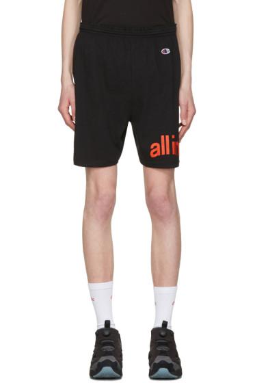 all in - Black Champion Edition Logo Shorts
