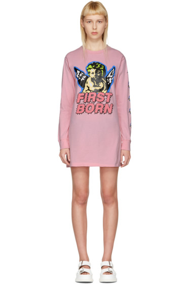 Ashley Williams - Pink 'First Born' Cherub T-Shirt Dress