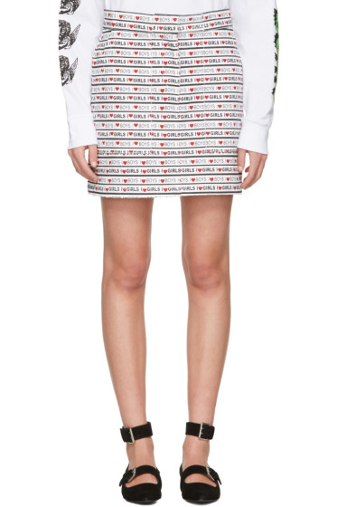 Ashley Williams - White Denim 'Boys Girls' Miniskirt