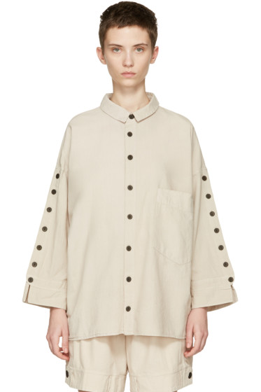 69 - Beige Button Sleeves Shirt