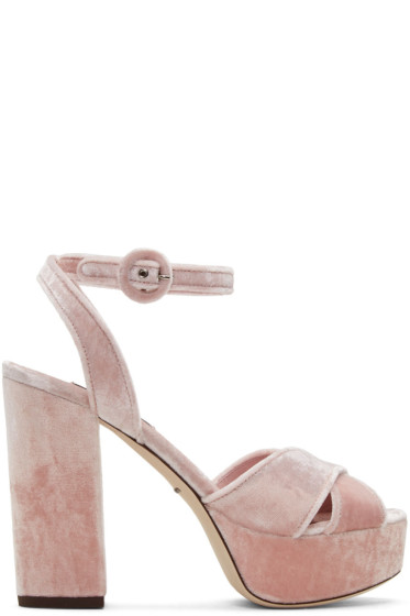 Dolce & Gabbana - ピンク ベルベット プラットフォーム サンダル