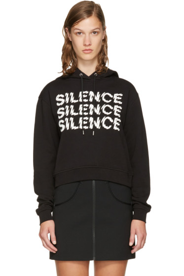 McQ Alexander McQueen - Black Cropped 'Silence' Hoodie