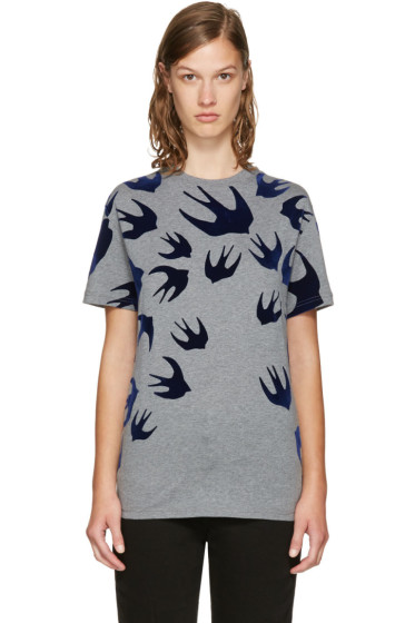 McQ Alexander McQueen - Grey & Navy Swallows T-Shirt