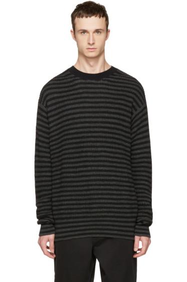 McQ Alexander McQueen - Black & Grey Striped Wool Sweater