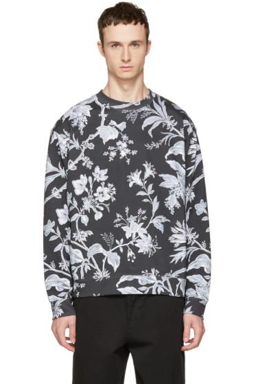 McQ Alexander McQueen - Grey Oversized Floral Sweatshirt