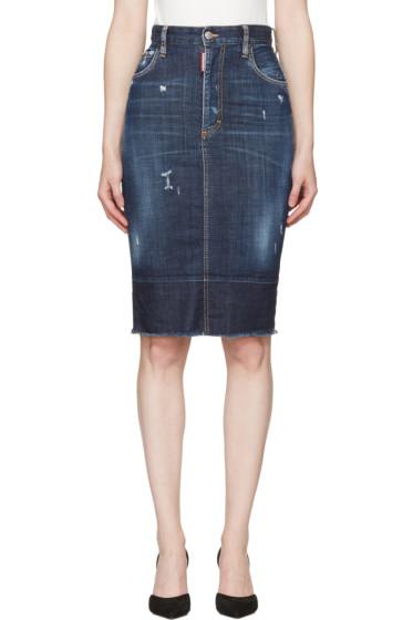 Dsquared2 - Blue Frayed Hem Skirt