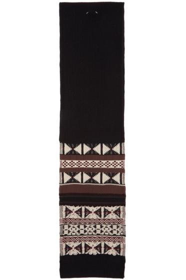 Maison Margiela - Black Patterned Wool Scarf