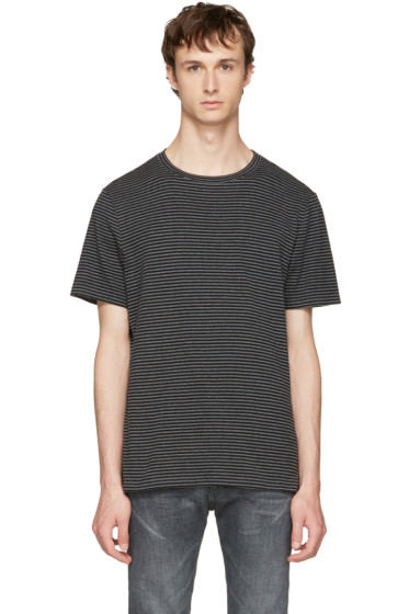 Maison Margiela - Black & Grey Striped T-Shirt