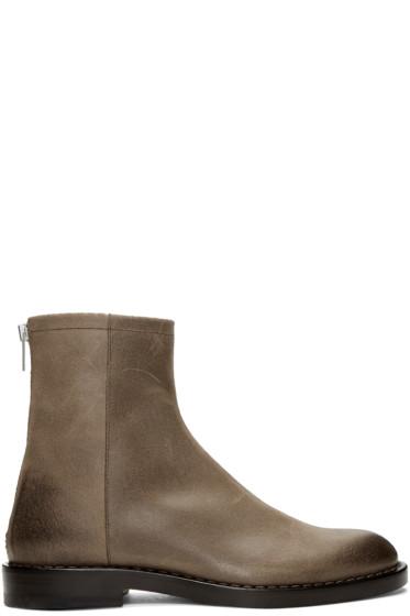 Maison Margiela - Brown Leather Zip Boots
