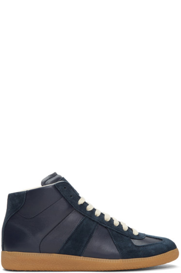 Maison Margiela - Navy Replica Mid-Top Sneakers