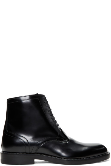 Maison Margiela - Black Leather Lace-Up Boots
