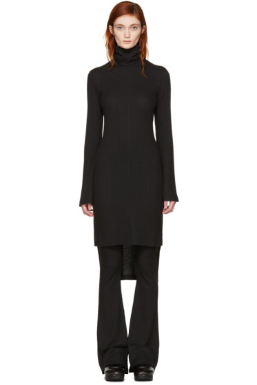 MM6 Maison Margiela - Black Asymmetric Turtleneck Dress