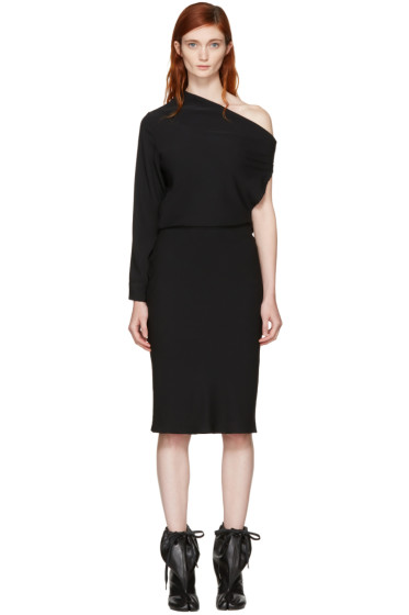 MM6 Maison Margiela - Black Fluid Single-Sleeve Dress