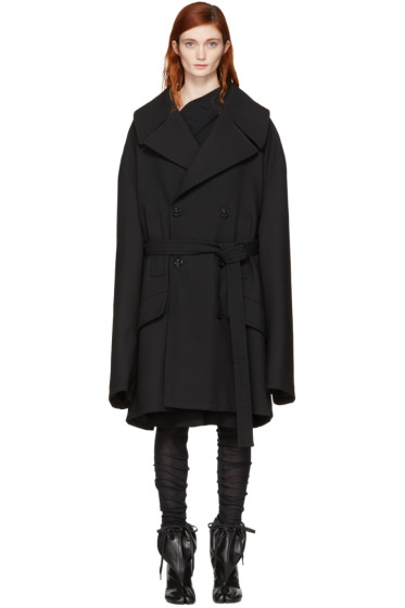MM6 Maison Margiela - Black Oversized Wool Coat