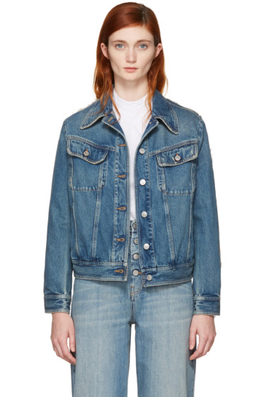 MM6 Maison Margiela - Blue Denim Frayed Back Detail Jacket
