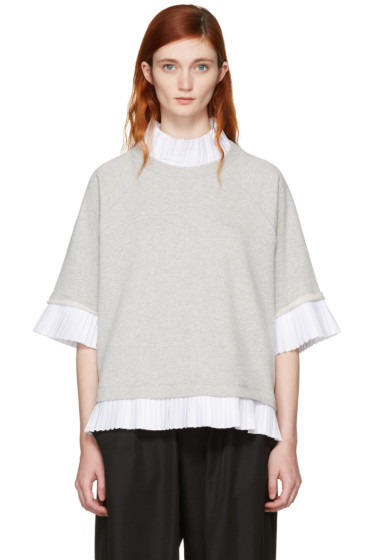MM6 Maison Margiela - Grey Mock Layered Sweatshirt