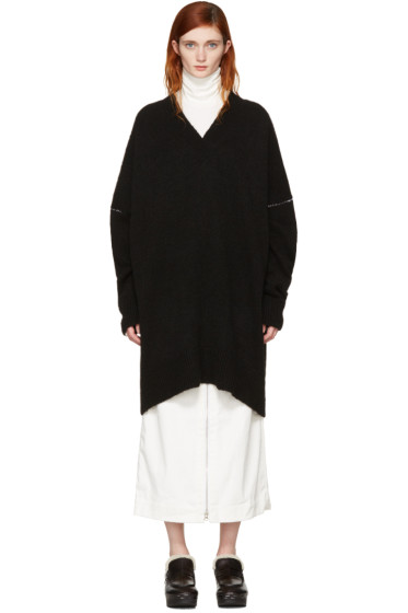 MM6 Maison Margiela - Black Oversized V-Neck Sweater