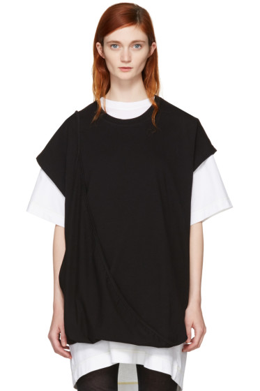 MM6 Maison Margiela - Black Asymmetric T-Shirt Dress