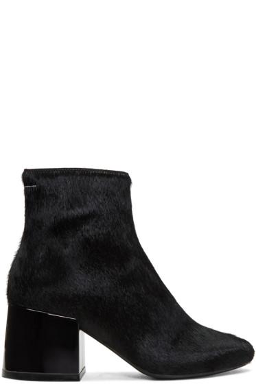 MM6 Maison Margiela - Black Pony Metallic Heel Boots